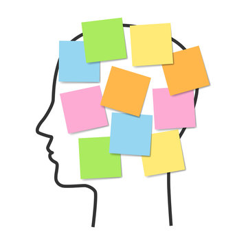 Human face and sticky notes