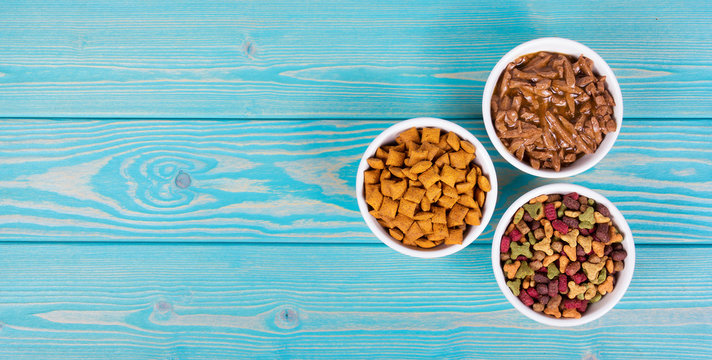 Various cat food. Dry and wet cat food. Copy space. Bowls with cat food on wooden background.