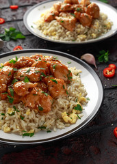 Orange Chicken Spicy sweet and sour with fried eggs rice