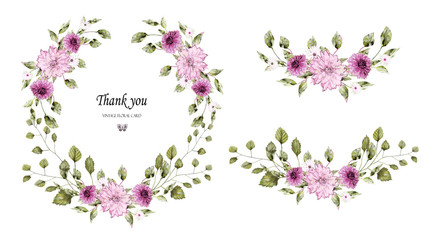 Floral wreath with leaves and flowers . Watercolor design. Invitations with pink wildflowers. Background for save the dates.