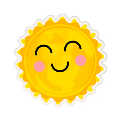 Cartoon sun star icon with cute face on white