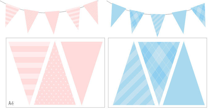 Blue and pink party banner flag for baby shower, birthday, Mother's day, kid Baptism. Light soft pastel color. Boy girl gender reveal decoration. Spring summer mood. Easy print and cut on A4 format