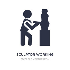 sculptor working icon on white background. Simple element illustration from People concept.