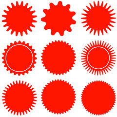 Set of vector starburst, sunburst badges. Design elements - best for sale sticker, price tag, quality mark. Flat vector illustration isolated on white background.