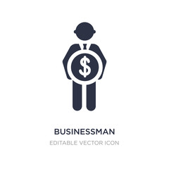 businessman with pound currency icon on white background. Simple element illustration from People concept.