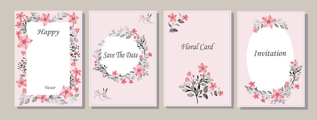 Set of cards with graphic, pink flowers, gray leaves. Roses. Decorative invitation to the holiday. Wedding, birthday. Universal card. Template for text.  Vector illustration.