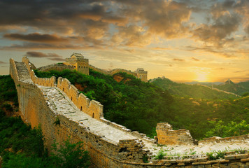 Fotobehang Chinese Muur Sunset on the great wall of China,Jinshanling