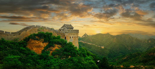 Sunset on the great wall of China,Jinshanling	 Wall mural