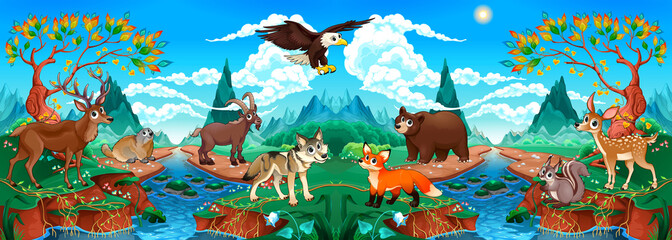 Funny wood animals in a mountain landscape with river