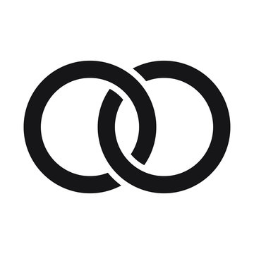 Interlocking circles, rings contour. Circles, rings concept icon. Vector illustration on white background.