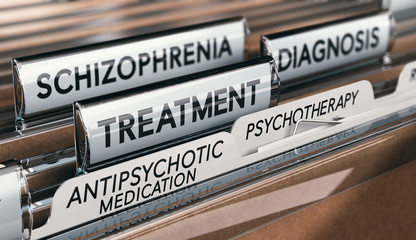 Mental health conditions, schizophrenia diagnosis and treatment with antipsychotic medication and psychotherapy.