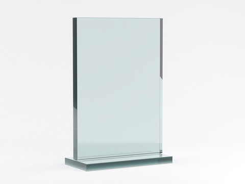 Glass stand for booklets on white background. Mockup. 3D