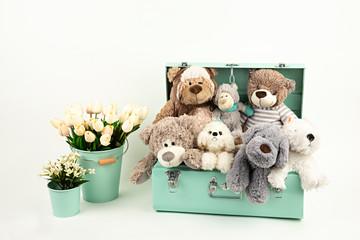 Muñecos de peluche en maleta y tulipanes. - fototapety na wymiar