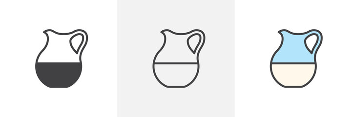 Milk glass jug icon. Line, glyph and filled outline colorful version, Milk jar outline and filled vector sign. Breakfast symbol, logo illustration. Different style icons set. Vector graphics