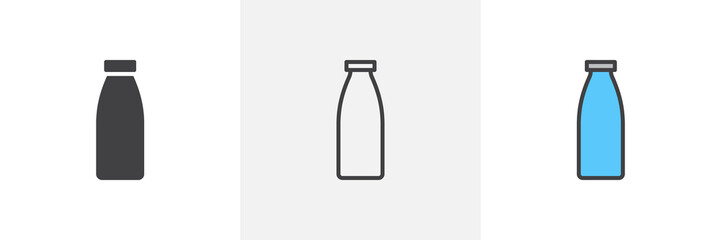 Milk bottle icon. Line, glyph and filled outline colorful version, bottle of milk outline and filled vector sign. Breakfast symbol, logo illustration. Different style icons set. Vector graphics