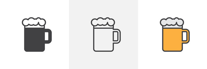 Beer mug with foam icon. Line, glyph and filled outline colorful version, Glass of beer outline and filled vector sign. Bar, pub symbol, logo illustration. Different style icons set. Vector graphics