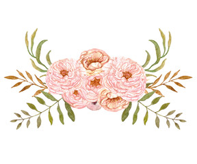 Watercolor flowers, pink and beige peony. Hand painted floral bouquets for wedding invitations, cards, flyers designs and scrapbooking.