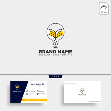 Light bulb learning line logo template vector illustration icon element isolated