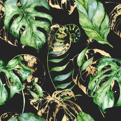 Foto op Aluminium Botanisch Tropical watercolor seamless pattern with green leaves illustration