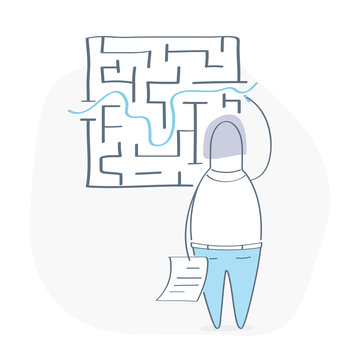Problem and solution concept, maze with entrance and exit and route going through it, businessman standing near wall found way out exit from labyrinth
