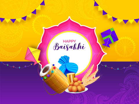 Indian festival celebration background with Happy Baisakhi element and stylish bunting hang on yellow and purple background.
