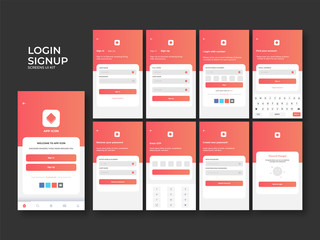 Material Design UI,UX and GUI layout with Welcome screen and different Login Screen including Account Sign In, Sign Up feature for mobile apps and responsive website.