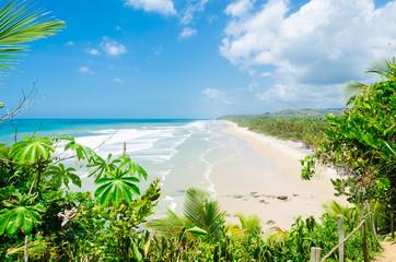itacarezinho beach deserted, seen from above amid the green vegetation. Beautiful sea on the horizon Wall mural