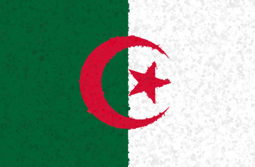 Graphic illustration of an Algerian flag with an irregular pattern