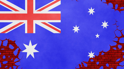 Illustration of an Australian flag imitating a paiting on the cracked wall