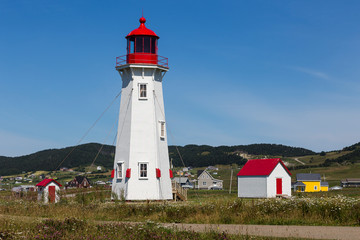 Red and white lighthouse and scattering of houses in Magdalen Islands, Quebec, Canada