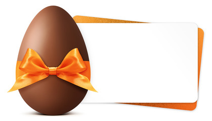 Easter gift card with chocolate easter egg with orange ribbon Bow isolated on white background