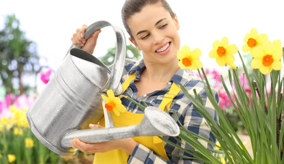 smiling woman watering flowers at garden with watering can on daffodils, spring flowering concept