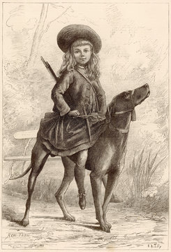 A Young Girl TAking A Ride on Her Dog