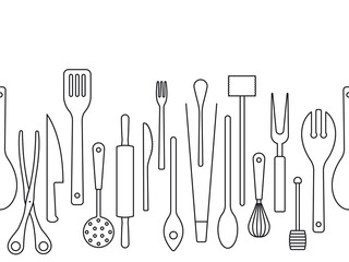 Cooking utensils outlines seamless border