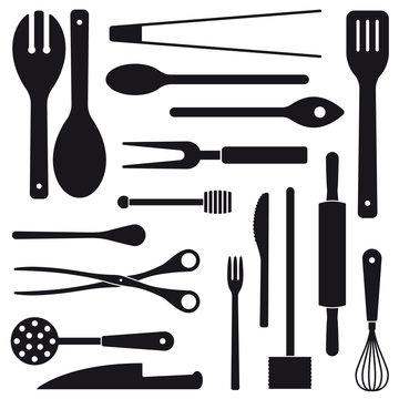 Cooking utensils assortment silhouettes vector