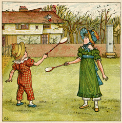 Girl and Boy Playing Shuttlecock and Battledore