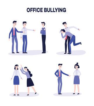 Vector office harassment, bully men mocking victim