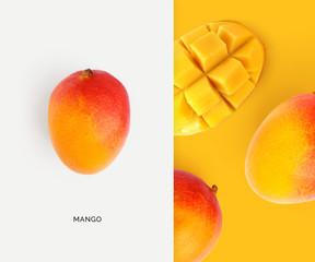 Creative layout made of mango. Flat lay. Food concept. Macro concept.