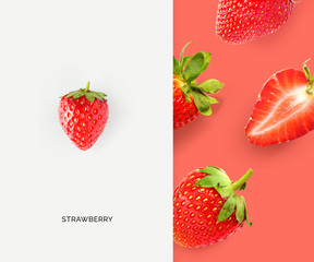 Creative layout made of strawberry. Flat lay. Food concept. Macro concept.