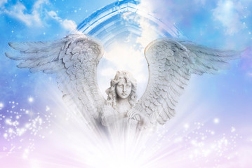 a beautiful angel archanegl with big wings over a mystical Divine sky with a gate and stars