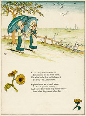 Two Little Girls with Parasols, Looking Out to Sea