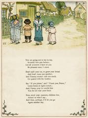 Five Children Walking Through a Village