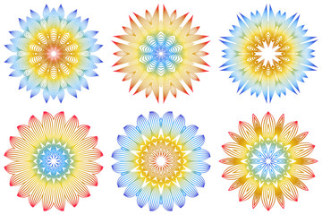 Set of Indian Floral Mandala Pattern.Vector Henna Tattoo Style. Can Be Used For Textile, Greeting Card, Coloring Book, Phone Case Print. Rainbow color