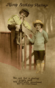Two Boys at a Garden Gate on a Birthday Postcard