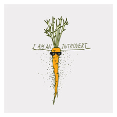 Greeting cards with carrot and motivation phrase I am an introvert on a bright background