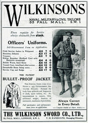 Advertisement for Wilkinsons Officers Uniforms 1918