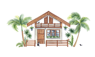 Watercolor illustration. Summer house, bungalows stredi tropical plants on a white background. A bungalow sits a cat. Wall mural