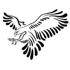 Falcon attack. Black illustration