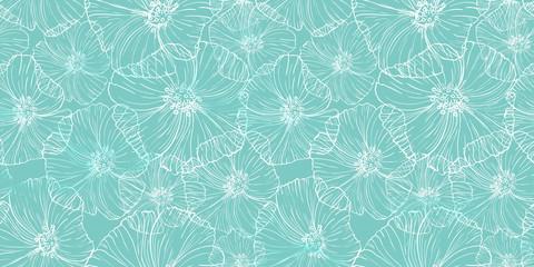 Motif de couleur avec des fleurs de pavot. Conception de surface de dentelle