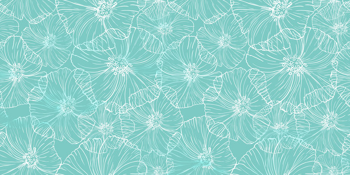 Color pattern with flowers poppy. Lace surface design